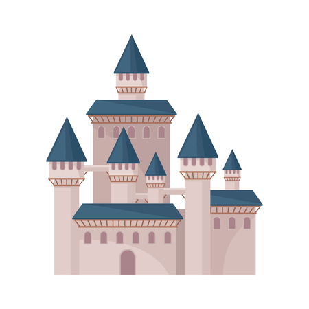 Big fairy tale castle with high towers and conical roofs. Large royal fortress. Flat vector element for children book Illustration