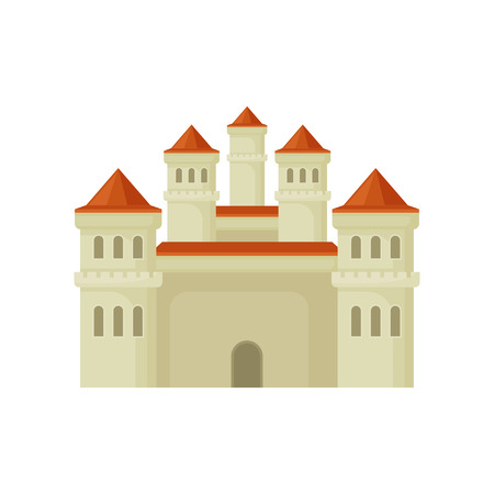 Big royal castle in flat style. Large fortress with high towers and red conical roofs. Vector for mobile game or children book