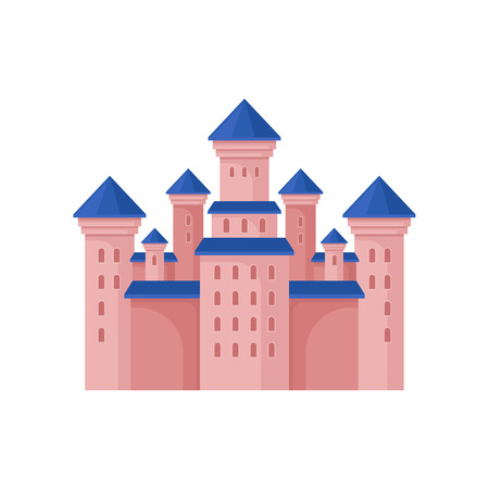 Pink royal castle with high towers and blue roof. Large fairy tale building. Flat vector element for children book Illustration