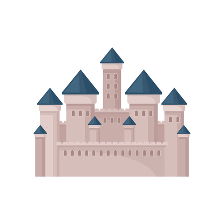 Royal fortress with towers and conical roofs. Large medieval castle. Flat vector for postcard, mobile game or children book