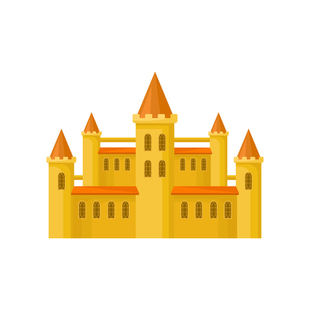 Yellow castle with orange roof, high towers and grating on windows. Flat vector element for children story book or mobile game Illustration