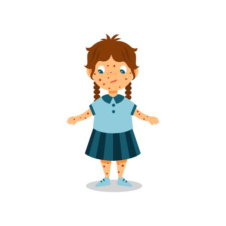 Fille avec une éruption cutanée sur son corps et son visage, enfant présentant des symptômes de varicelle vector Illustration sur fond blanc