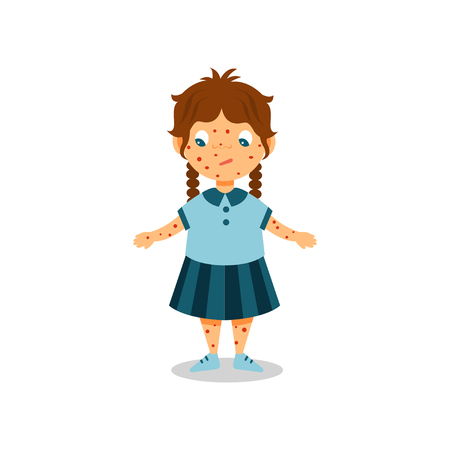 Girl with rash on her body and face, kid with symptoms of chickenpox vector Illustration on a white background Illustration