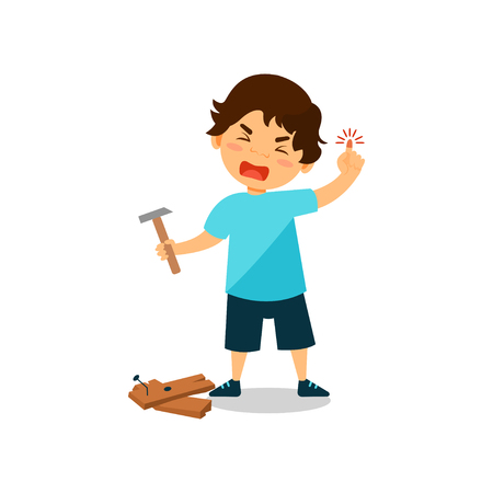 Crying boy with injured thumb, kid bruised a finger while hammering a nail vector Illustration on a white background