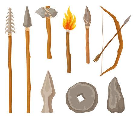 Sammlung von Steinzeitsymbolen, -werkzeugen und -waffe der prähistorischen Mannvektorillustration auf einem weißen Hintergrund