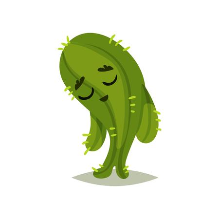 Illustration des grünen Kaktus mit traurigem Gesichtsausdruck. Zeichentrickfigur der humanisierten Sukkulente mit kleinen Stacheln. Buntes grafisches Element für Netzwerkaufkleber. Isoliertes flaches Vektordesign. Vektorgrafik