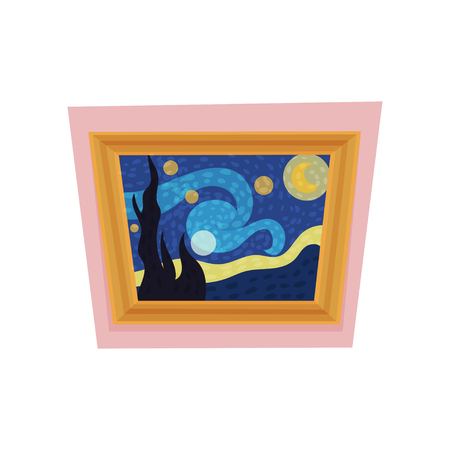 Famous painting of starry night by Vincent van Gogh. Museum exhibit. Art gallery theme. Flat vector for advertising poster