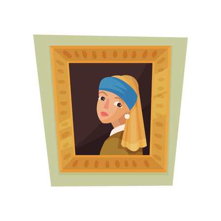 Famous painting of girl with pearl earring and blue headscarf. Museum exhibit. Flat vector for promo poster
