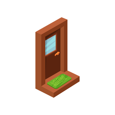 Entrance wooden door with window and golden handle. Bright green welcome doormat on doorstep. Isometric vector icon