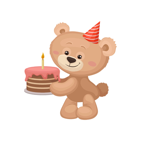 Lovely teddy bear with party hat on head holding tasty birthday cake with burning candle. Decorative graphic element for postcard. Cartoon style icon. Flat vector design isolated on white background.