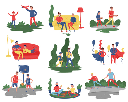 Flat vector set of fathers with sons in different actions. Dads spending time with their kids at home and outdoor. Fatherhood theme Archivio Fotografico - 110631633