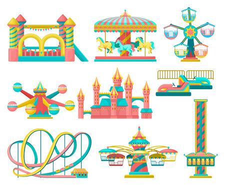 Vergnügungspark-Design-Elemente, fröhliche Runde, aufblasbares Trampolin, Freifallturm, Schloss, Karussell mit Pferden, Achterbahn-Vektor-Illustration auf weißem Hintergrund