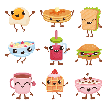 Fast food cartoon characters set, delicious dishes and drinks with smiling faces vector Illustration isolated on a white background.