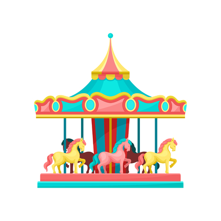 Carousel with horses, amusement park element vector Illustration on a white background