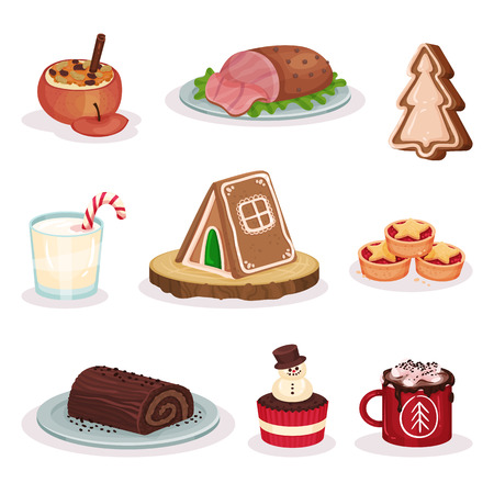 Traditional Christmas food and desserts set, baked stuffed , grilled ham, gingerbread cookies, chocolate roll cake, cacao with marshmallow vector Illustration