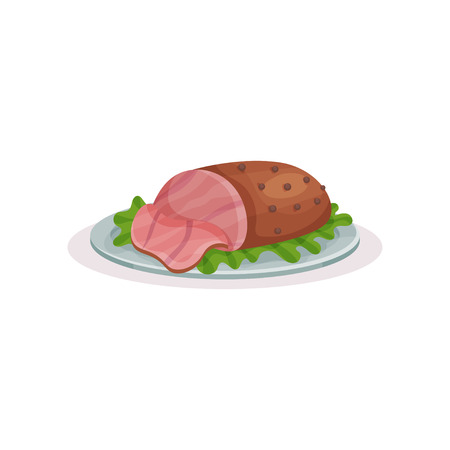 Grilled ham on a plate, traditional Christmas food  vector Illustration on a white background