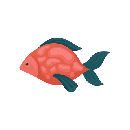 Small aquarium fish with red spotted body and blue fins. Underwater creature. Marine animal. Sea and ocean life theme. Cartoon style illustration. Flat vector design isolated on white background.