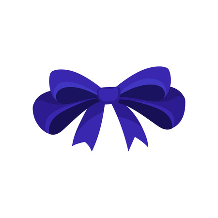 Cartoon icon of big blue bow. Hair accessory for girl. Decorative graphic element for invitation, gift voucher or promo poster. Colorful vector illustration in flat style isolated on white background.