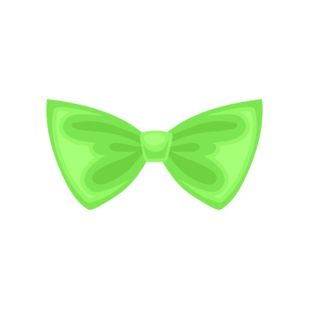 Icon of small bright green bow. Cute butterfly tie. Decorative graphic element for gift coupon or invitation card. Colorful flat vector design isolated on white background. Cartoon style illustration.