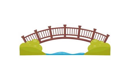 Pont en arc en bois. Passerelle de l'autre côté de la rivière. Passerelle en bois. Élément de vecteur plat pour la carte du parc de la ville Vecteurs