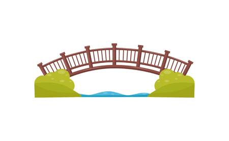 Wooden arch bridge. Walkway across the river. Footbridge made of wood. Flat vector element for map of city park