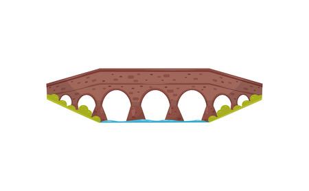 Ancient brick bridge. Old stone footbridge. Landscape element for city park. Walkway across the river. Flat vector icon