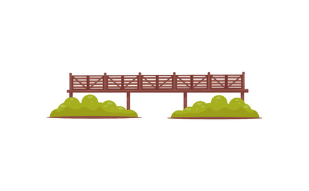 Long wooden pedestrian bridge with railings and green bushes. Flat vector element for map of city park Banco de Imagens
