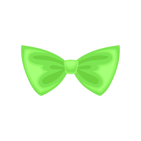 Small bright green bow. Cute butterfly tie. Decorative flat vector element for gift coupon or invitation card 스톡 콘텐츠