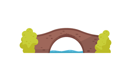 Old brick bridge and green bushes. Walkway across the river. Architecture theme. Flat vector for mobile game or map of city park Imagens