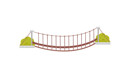 Small hanging wooden bridge and green bushes. Suspension footbridge. Flat vector element for mobile game