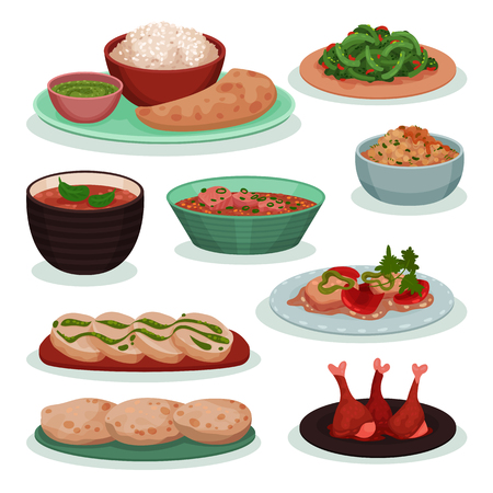 Collection of delicious Indian food, thali, green beans on wheat tortilla, tandoori, roti vector Illustration on a white background Фото со стока