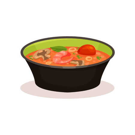 Tom Yam Kung spicy soup, Thai cuisine vector Illustration on a white background
