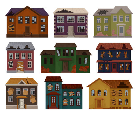 Flat vector of old houses with destroyed roof and broken windows. Facades of abandoned buildings. Big two-storey cottages