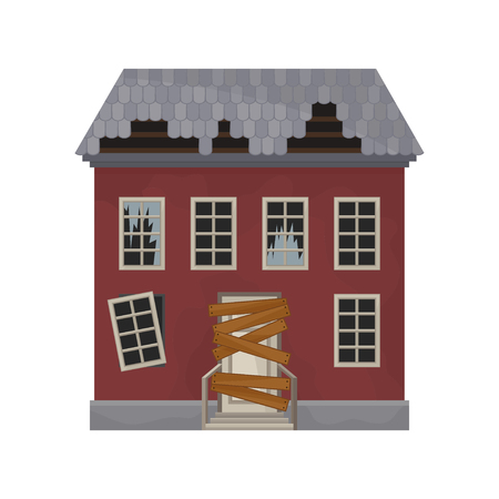 Facade of abandoned house with broken windows and roof. Door boarded up. Old building. Private home. Flat vector design