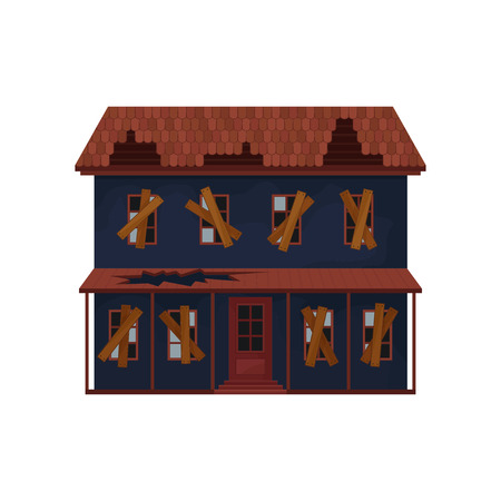 Abandoned house with destroyed roof and boarded-up windows. Old big building. Architecture theme. Flat vector design Illustration