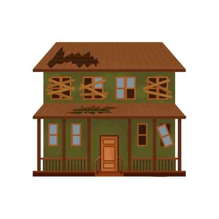 Green house with destroyed roof and boarded-up windows. Facade of old cottage. Abandoned building. Flat vector icon