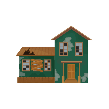 Green house with peeling paint, broken roof and windows. Abandoned home. Private home. Old building. Flat vector design