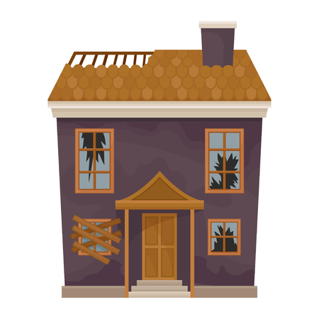 Two-storey purple house with destroyed roof and broken windows. Facade of old home. Abandoned building. Flat vector icon Ilustração