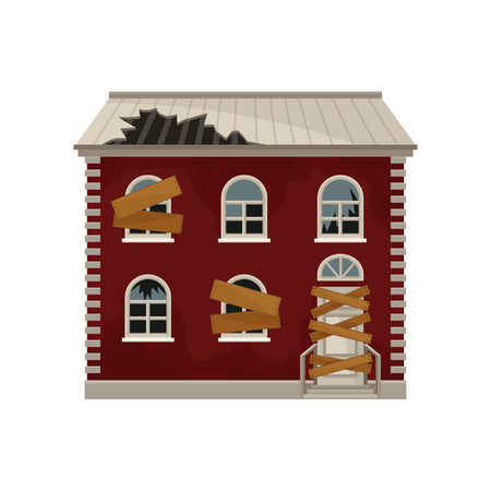 Old red house with broken roof and boarded up windows and door. Two-storey building. Big abandoned home. Flat vector icon Illustration