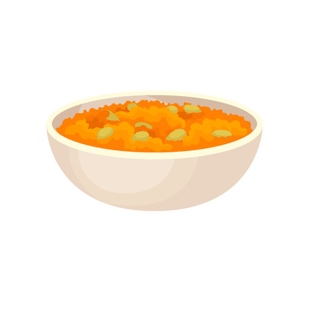 Ceramic bowl of pumpkin porridge, traditional Thanksgiving food vector Illustration on a white background Stock Photo