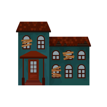 Old green house with broken roof and boarded-up windows. Private building. Two-storey abandoned cottage. Flat vector icon