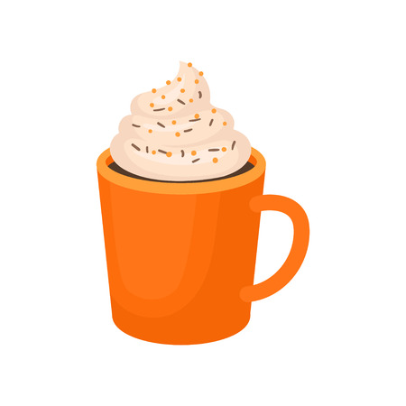 Pumpkin spice whipped latte, traditional Thanksgiving drink vector Illustration isolated on a white background.