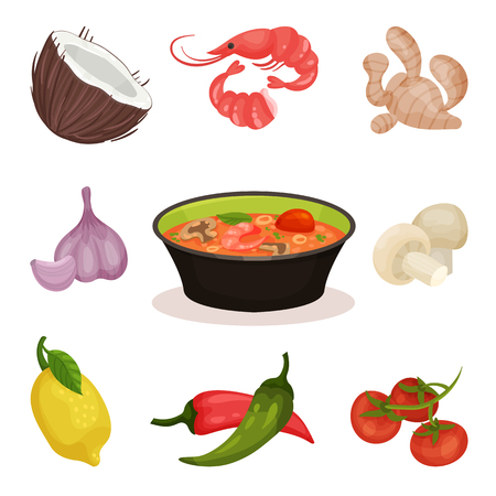 Tom Yam Kung spicy soup with ingredients, Thai cuisine vector Illustration on a white background