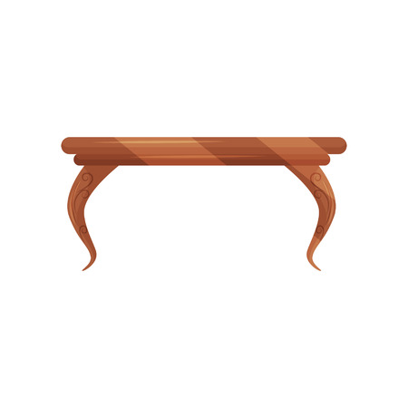 Small vintage coffee table for living room. Classic wooden furniture. Object for home interior. Flat vector design 스톡 콘텐츠
