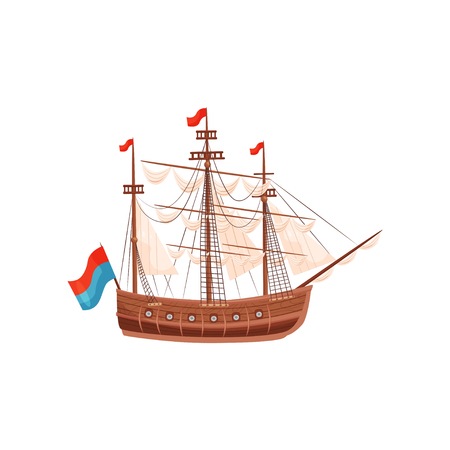 Wooden ship with beige sails and bright flags. Marine vessel. Sea and ocean theme. Graphic element for banner or poster. Cartoon vector design. Colorful flat illustration isolated on white background.