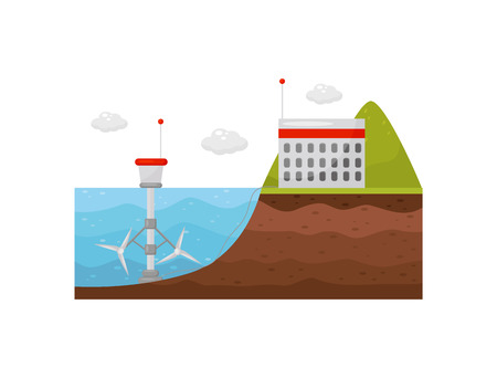 Tidal power station. Energy production obtained from tides. Tide mill in the water and the building on shore. Flat vector design