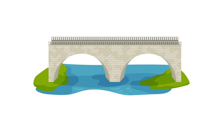 Illustration of brick bridge. Large arch footbridge. Walkway across the river. Construction for transportation. Architecture theme. Colorful vector icon in flat style isolated on white background. Illustration