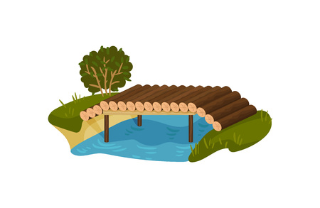 Bridge made of tree logs. Small timber footbridge, blue river, green bush and grass. Graphic design for children book or mobile game. Colorful flat vector illustration isolated on white background.
