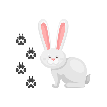 Cute little bunny and his footprints tracks. Mammal animal with long ears. Zoo theme. Flat vector element for children book Illustration