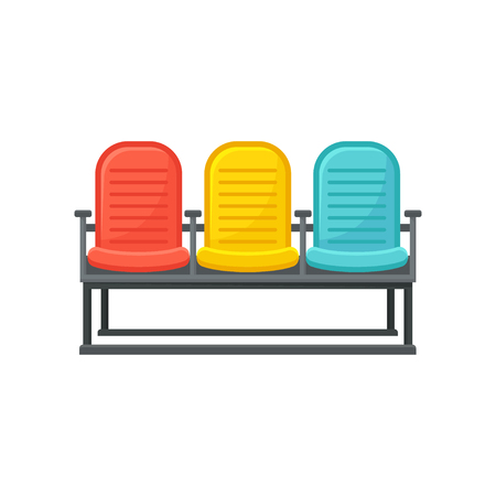 Illustration of comfortable chairs. Departure lounge for passengers. Furniture for waiting room at airport. Bench with three seating. Cartoon vector design. Flat icon isolated on white background.